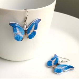 NEW Acrylic Morpho Helena Butterfly Earrings